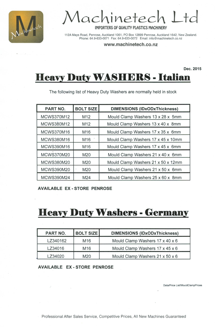 Price list for Heavy Duty WASHERS 2 -small